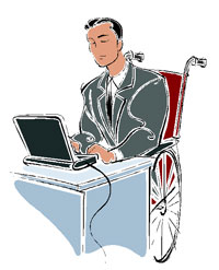 Man in a wheelchair typing at a desk
